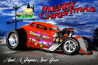 A Christmas card With Stanley and Weiss Racings Best Wishes, Download It Now And Share With Friends