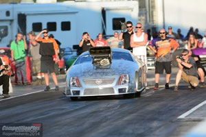 John Stanley takes his first drive in the new Larry Jeffers Race Cars CTS-V Cadillac PDRA Pro Mod.