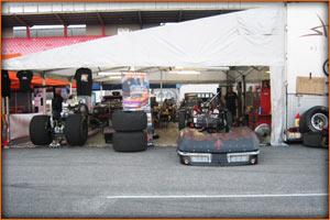 Marcus Hilt Trouble Racing Corvette Pro Mod pit area