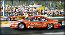 Australia only had one really fast doorslammer at the time and it was a Thunderbird called the Warlord right-hand drive car  recalled Wallace. & The Original Wild Bunch Outlaw Doorslammers History and Timeline pezcame.com