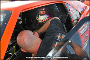 John Stanley Straps Himself In The Camaro Pro Mod during testing at the 2011 Yellow Bullet Nationals